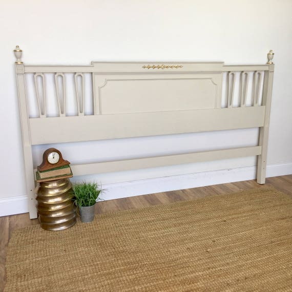 King Size Bed Headboard - Recency Style - Vintage Bedroom Furniture - Shabby Chic Headboard - White King Headboard - Distressed Furniture