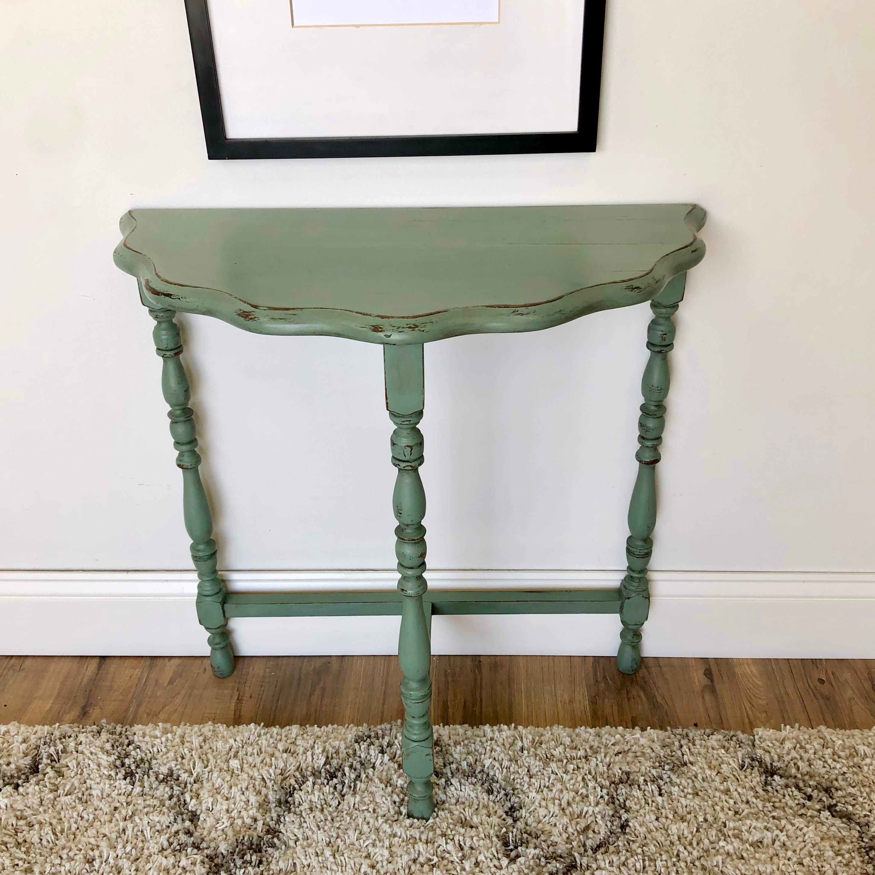 Green Half Moon Side Table - Living Room Console Table - Distressed ...