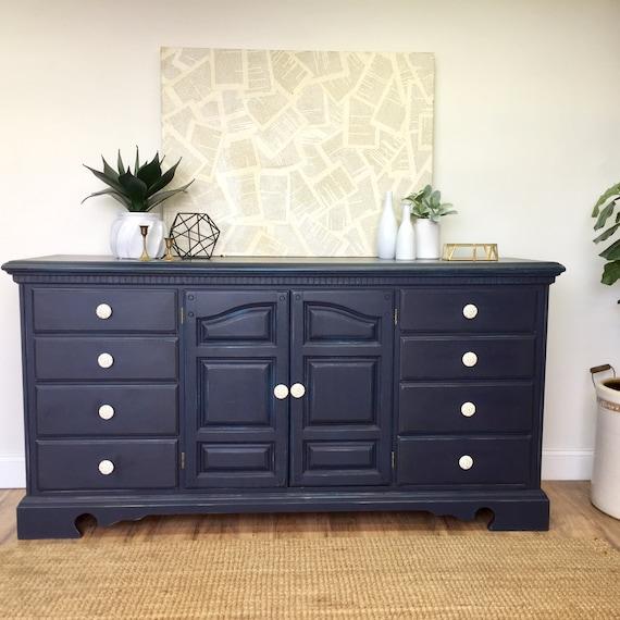 Navy Blue Long Dresser - Baby Nursery Furniture
