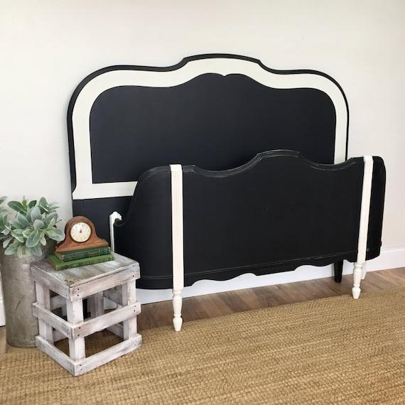 Black and White Bed - Vintage Bedroom Furniture - Black Full Size Bed - Double Bed Frame - Distressed Furniture - Antique Wooden Bed Frame