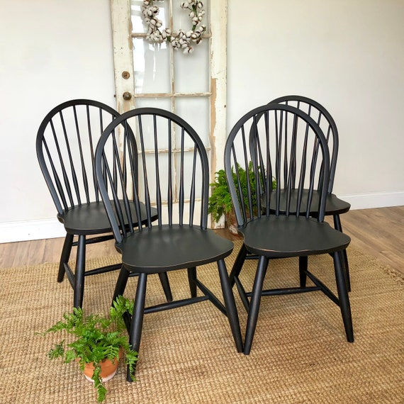 Black Windsor Dining Room or Kitchen Chairs - Farmhouse or Country Cottage Style