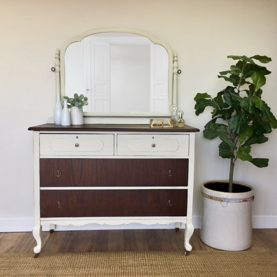 Farmhouse Dresser - Shabby Chic Furniture White Dresser with Mirror - Antique Chest of Drawers - Dresser with Mirror - Vintage Furniture