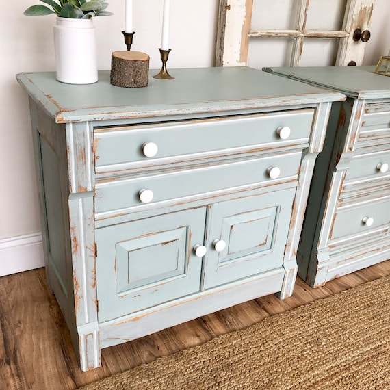 Farmhouse Nightstand- Antique Washstand - Country Cottage Furniture - Distressed Cabinet - Large Nightstand - Antique End Table