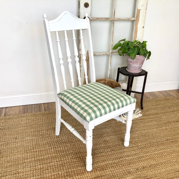 White Farmhouse Chair with Spindle Back and Green Seat