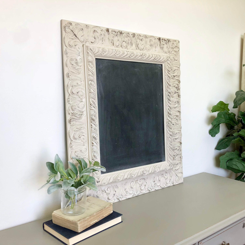 Large Vintage Wooden Framed Chalkboard - Ornate Wooden Frame ...