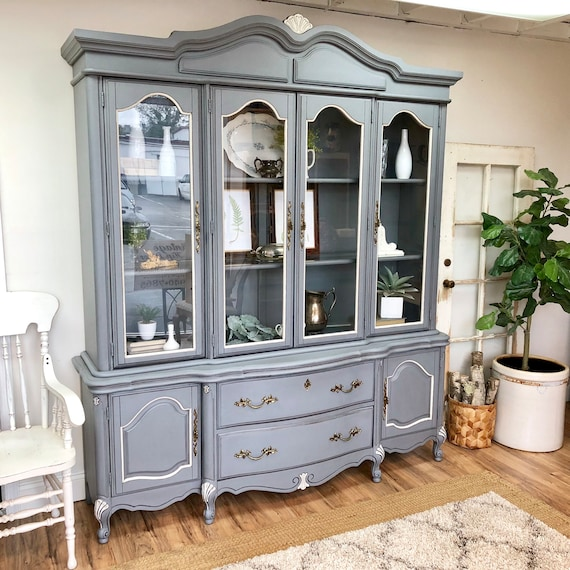 French Provincial China Cabinet - Shabby Chic Furniture