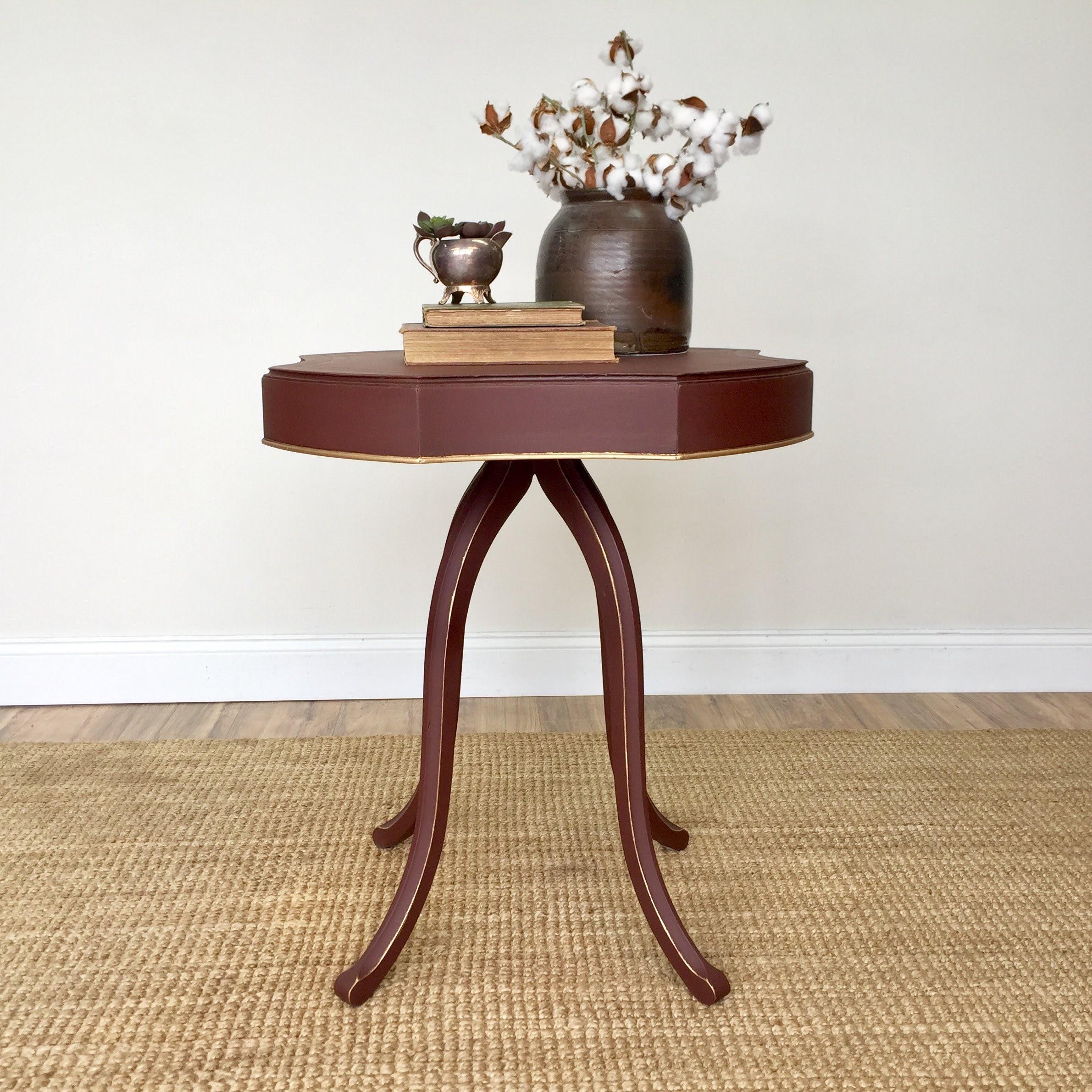 Unique And Vintage Furniture: Red Antique End Table Sofa Side Table Unique Furniture