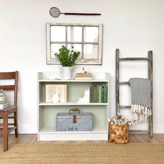 Distressed White Bookcase - Farmhouse Furniture - Book Storage