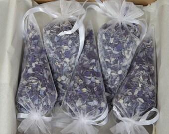Biodegradable real petal wedding confetti - 5 filled organza cones
