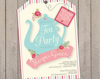 Tea Party Birthday Invitation Doll PDF File