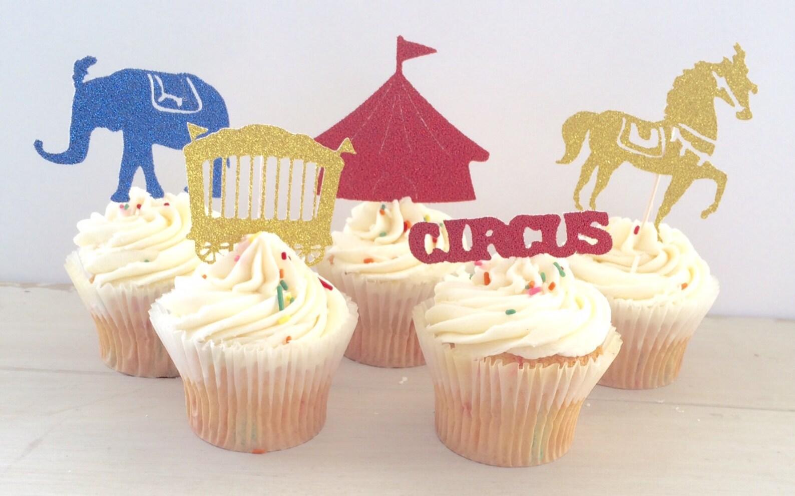 Glittered Circus Cupcake Picks