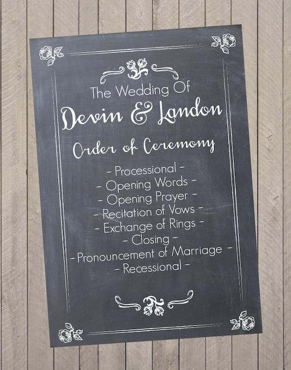 wedding program wedding schedule reception sign pdf file etsy