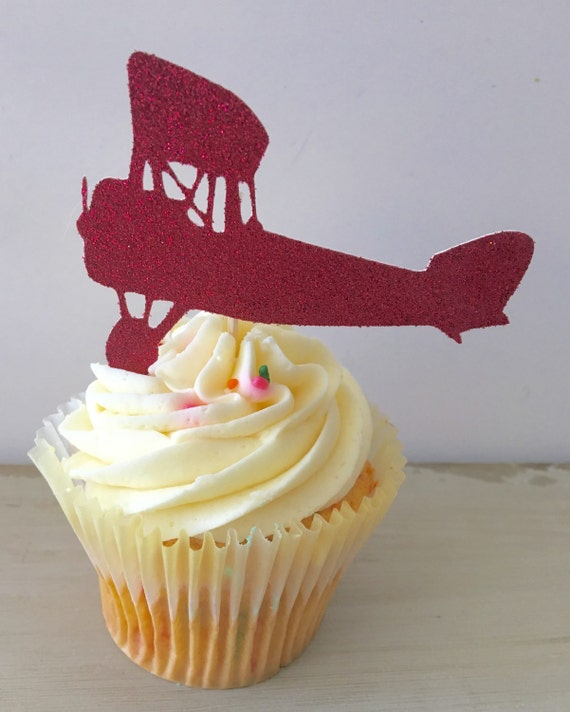Marvelous Airplane Cake Toppers Vintage Plane Cupcake Toppers Airplane Etsy Funny Birthday Cards Online Barepcheapnameinfo