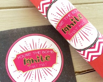 Cheerleading Good Luck Favor Tags, Cheer Gifts- PDF file Instant Download Ignite That Mat - Gift Tags