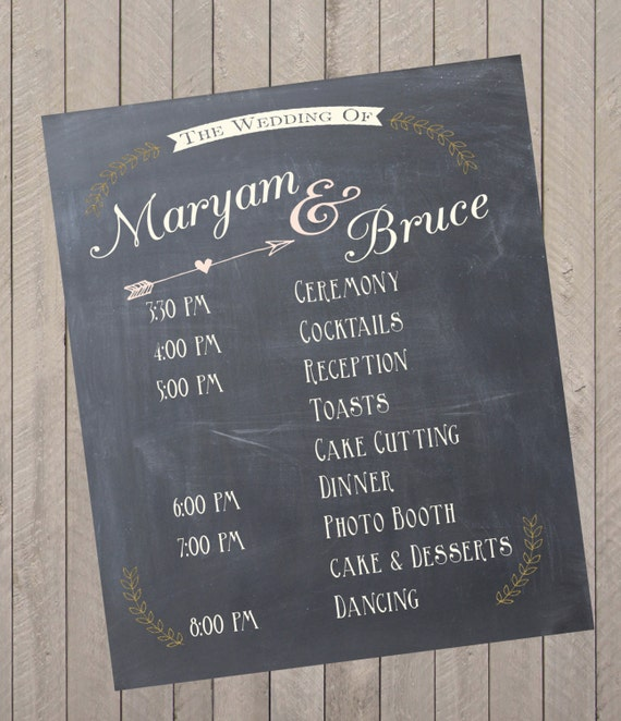 custom wedding program event schedule chalkprint program sign etsy