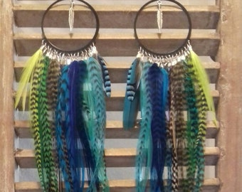 Tropical: Hoop Earrings - long feather earrings