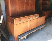 Vintage Walnut MCM Modular Stacking Solid Wood Cabinet with Drawer, Antique Drop Leaf Secretary Storage Cupbard - PICK UP Only