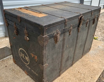 Large Antique 1800s Steamer Trunk W/ KEY, Henry Likly U0026 Co. Rochester NY,  Vintage Black Canvas Wood Storage Chest