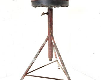 Iron Drafting Stool, Vintage Shop Chair, Adjustable Height, Welded Tripod Base
