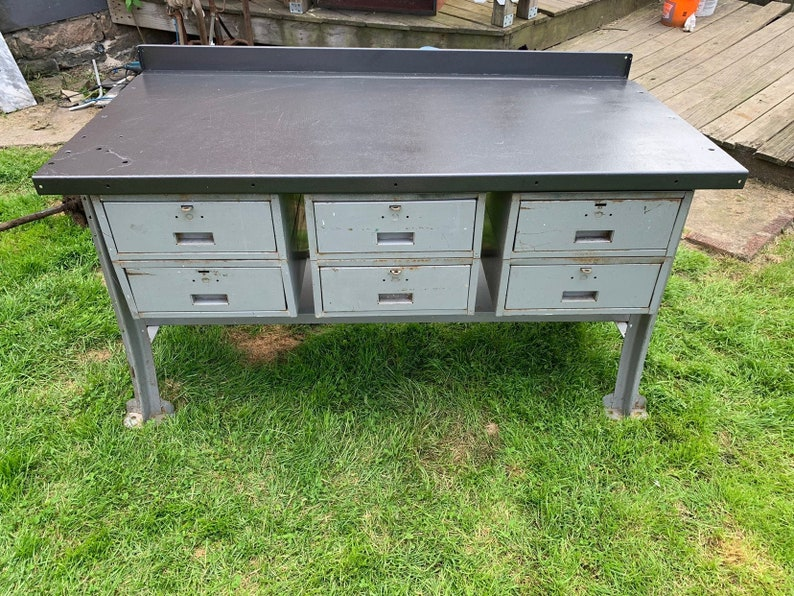 Superb Vintage Steel Lyon Workbench With Six Drawers Industrial Metal Storage Cabinet Work Table Pick Up Only Forskolin Free Trial Chair Design Images Forskolin Free Trialorg