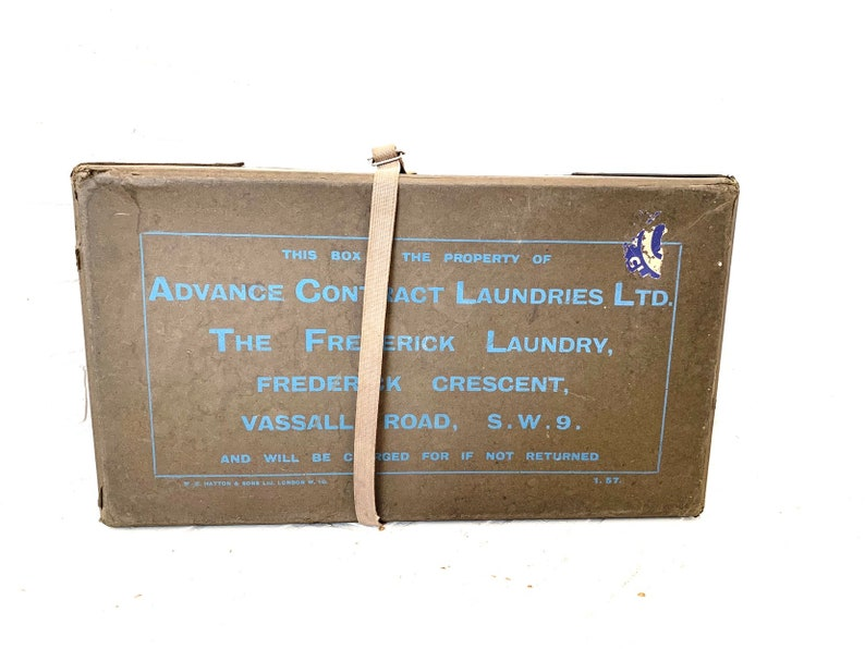London England Linen Storage Box Vintage Laundry Mailer Retro Ephemera File Box Cardboard Suitcase Shipping Container