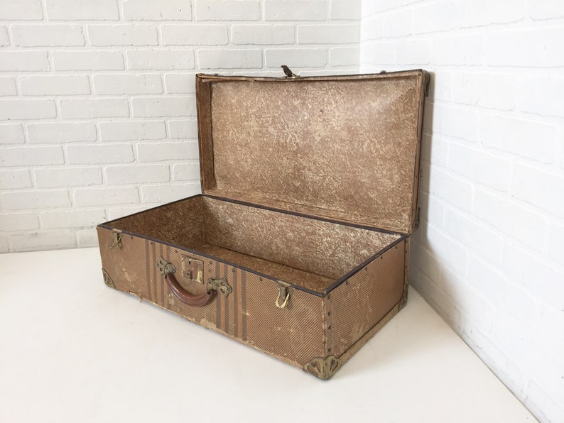 Vintage Tweed Cardboard suitcase, Retro Luggage, Brass Metal Hardware, Mid  Century Decor, Ephemera Paper Storage