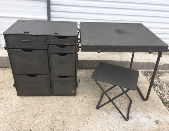 Pleasing Us Military Mobile Field Desk Trunk W Stool Industrial Portable Table Steampunk Kids Room Furniture Army Surplus Usgi Inzonedesignstudio Interior Chair Design Inzonedesignstudiocom