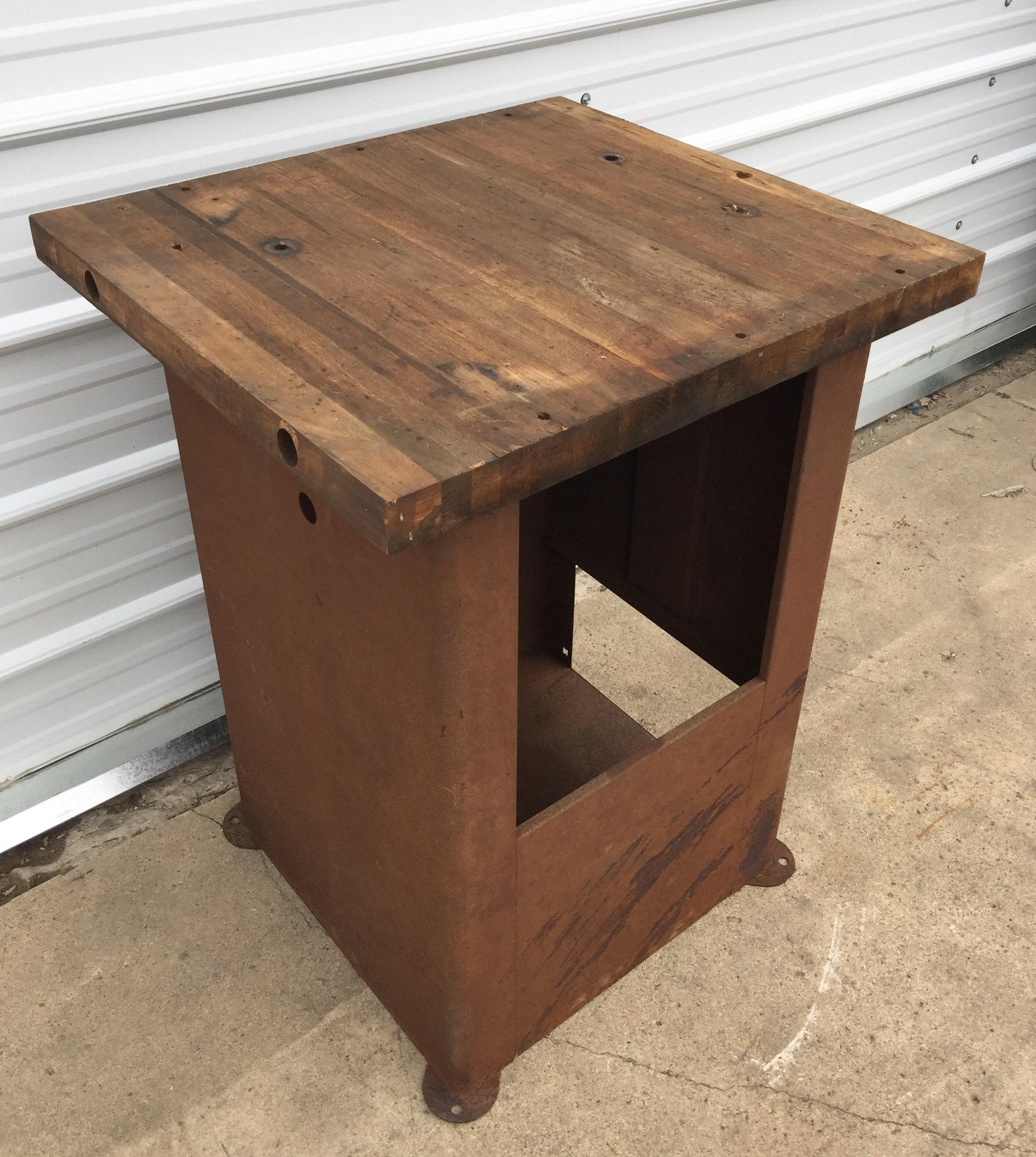 Vintage Industrial Workbench Steel Machine Base Butcher Block Wood Top Table Primitive Kitchen Island Rustic Home Decor