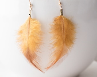 Modern orange feather earrings on 14k gold-filled ear wires - FREE shipping