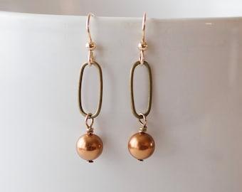 Modern Swarovski pearl earrings - FREE shipping