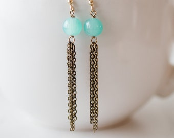 Brass tassel earrings with turquoise-colored beads & 14k gold-filled ear wires - FREE shipping