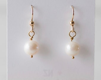 Delicate White freshwater pearl earrings - FREE shipping