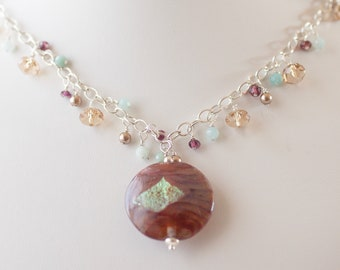 Handblown glass pendant necklace with gemstones & sterling silver - FREE shipping
