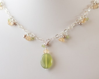 Serpentine, peridot, citrine, pearl & sterling silver necklace - FREE shipping