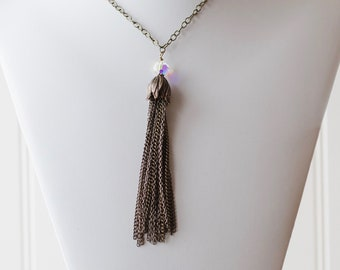 Antique brass tassel necklace - FREE shipping