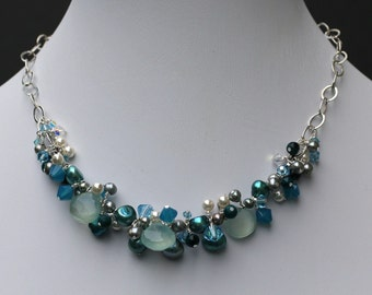 Blue Moon: Apatite, Pearls, Swarovski Crystal & Sterling Necklace - FREE shipping