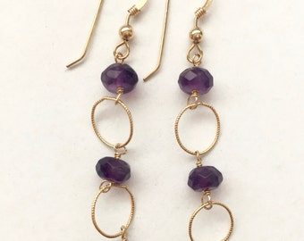 Amethyst Circle Goddess Earrings