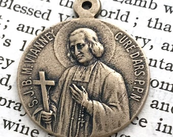 Sacred Heart of Jesus & St John Vianney Two Way Medal - Bronze - Religious Medal - Patron of Priests - Ordination Gift - Seminarians