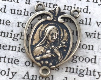 "St. Therese of Lisieux - 3/4"" - Rosary Center - Chaplet Center - Bronze or Sterling Silver - St. Therese of the Child Jesus  (CD-389)"