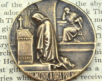 St. Monica Medal - St. Augustine Medal - Bronze or Sterling Silver - Patron of Mothers - Vintage Reproduction - Cast in the USA (CD-343)