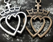 Sacred Heart and Immaculate Heart - Twin Hearts - Two Hearts - Bronze or Sterling Silver - Reproduction - Made in the USA