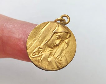 Mother of Sorrows Medal - Real Antique French Medal - French Medal - Religious Medal - Gold Plated Medal