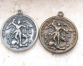 St. Michael the Archangel Medal - St. Christopher - Bronze or Sterling Silver - Religious Medal - Catholic Medal  - Reproduction