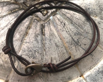 Leather Necklace - Brown Leather Necklace - Single or Double Wrap - Plain Leather Necklace - Men's Leather Necklace - Leather Necklace