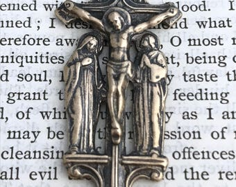 """Large Crucifix Good Friday - Crucifix - 2"""" - Bronze - Marian Consecration - Reproduction - Bronze Crucifix - Made in the USA (CD-395)"""