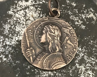 St. Joan of Arc - Religious Meda - Bronze or Sterling Silver - Catholic Medal - Vintage Replica - Made in the USA