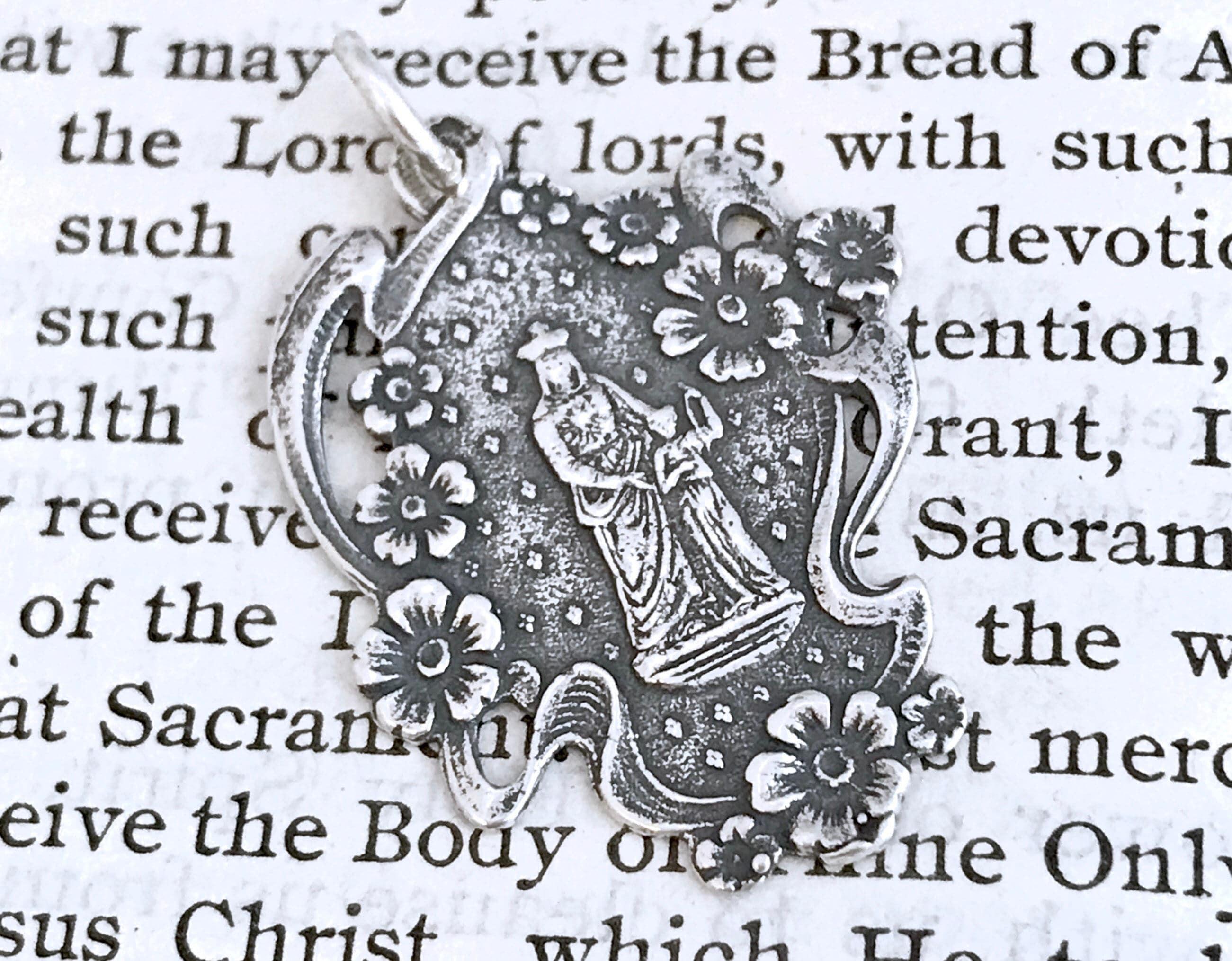 Sterling Silver Antiqued Saint Anne Medal