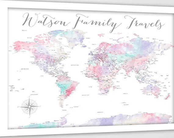 Pin Map of the World, Track Family Travels, Soft Pink Wall Art, Large World Map, Watercolor Wall Art for Bedroom, Family Adventure TravelMap