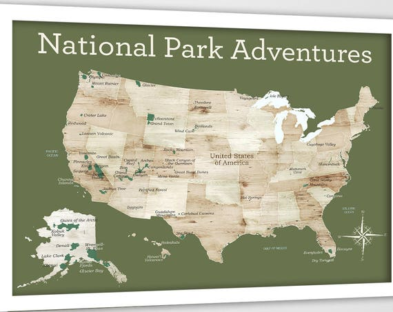 Gift for Nature Lover, Traveller Gift, US map for hiker, National Parks, National Park gift, Print for RV, Wall art, Camper, Map Gift, USA
