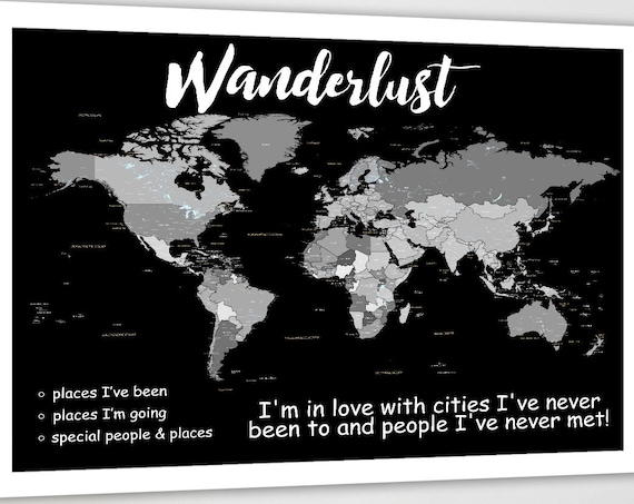 Wanderlust World Map, Grayscale, Personalised World Map, Shades of grey world map, country and city labels, DIY Push pin map, gift for him